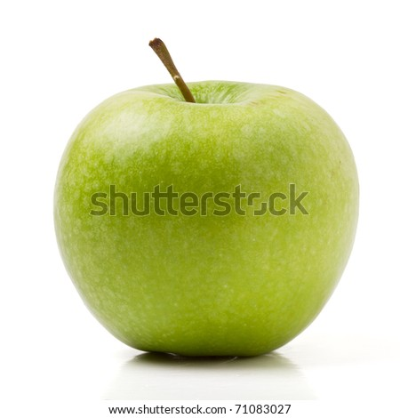 Granny Smith variety of apple from low perspective isolated on white. - stock photo