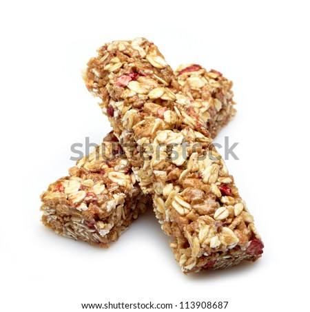Granola bar on white background - stock photo