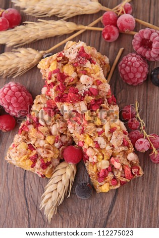granola bar with berries - stock photo