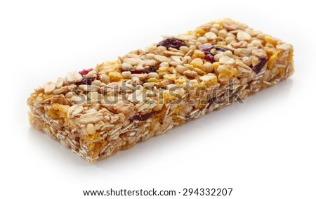 Granola bar with berries isolated on white background - stock photo