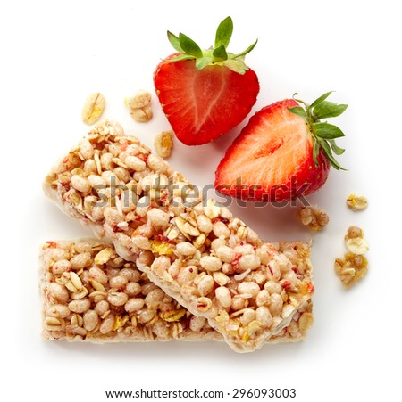 Granola bar with fresh; strawberries and white chocolate isolated on white background - stock photo