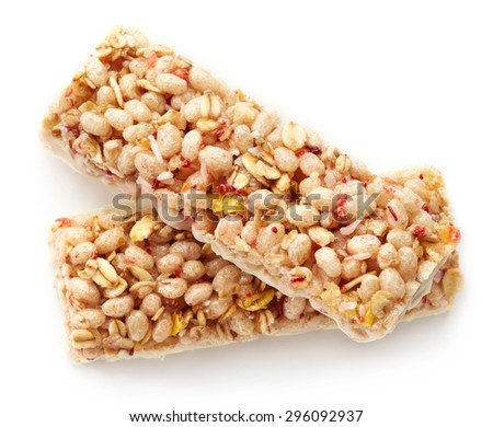 Granola bar with strawberries and white chocolate isolated on white background - stock photo