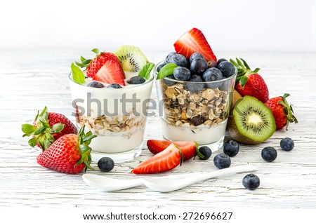 Granola or muesli with berries and fruits for healthy breakfast morning meal - stock photo
