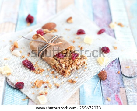 Granola snack with cranberry - stock photo