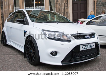 GRANTOWN ON SPEY, SCOTLAND - SEPTEMBER 2: Ford Focus RS on display in the annual Motor Mania car show on September 2 2012 in Grantown On Spey, Scotland - stock photo
