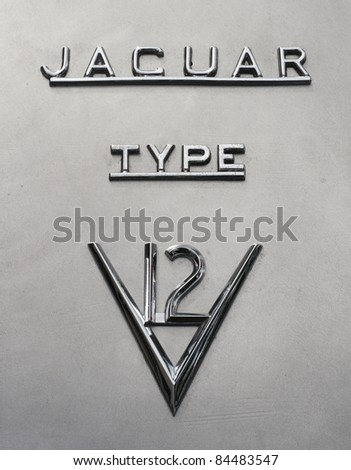 GRANTOWN ON SPEY, SCOTLAND - SEPTEMBER 4: Jaguar Cars typeface on display in the annual Motor Mania car show on September 4, 2011 in Grantown On Spey, Scotland - stock photo