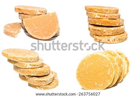 Granulated sugar, sugar not refined, sugar candy brown - stock photo