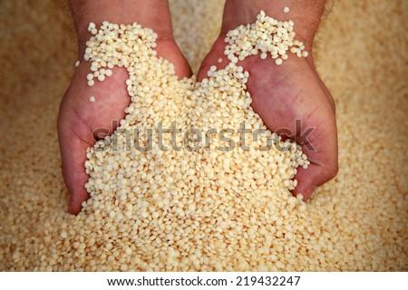 granules plastic to make bags - stock photo
