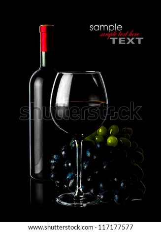Grape red wine in a dark tone - stock photo