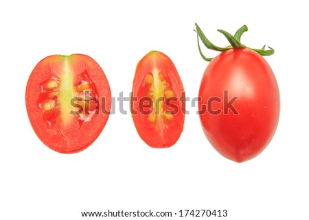Grape Tomatoes isolated on White Background - stock photo