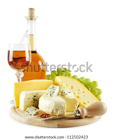 Grape wine with different kind of cheese isolated on white background - stock photo