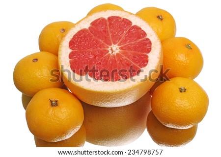Grapefruit and tangerines isolated on white background - stock photo