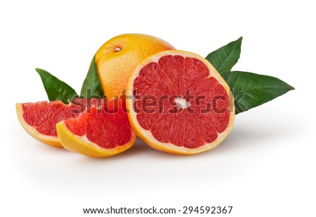Grapefruit isolated on white background with clipping path - stock photo