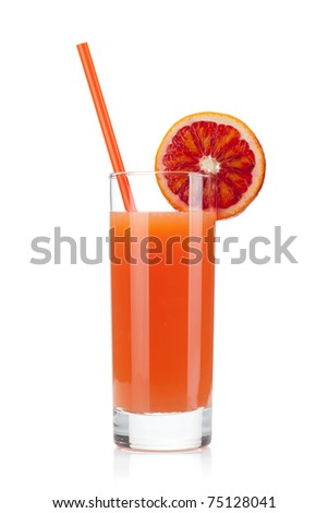 Grapefruit juice glass. Isolated on white background - stock photo