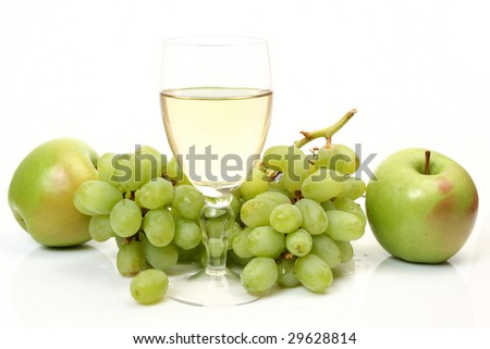 Grapes and glass - stock photo