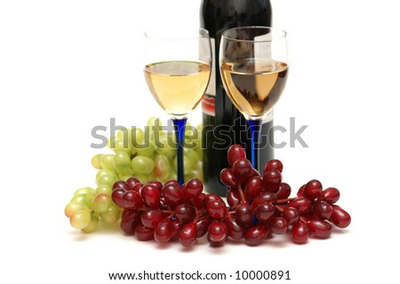 Grapes and wineglasses isolated on the white - stock photo