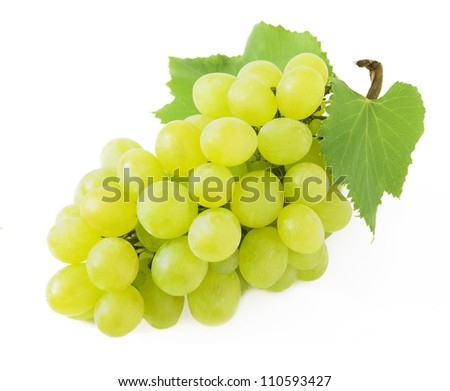 Grapes branch with leaves isolated on white background - stock photo
