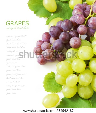 Grapes brunch isolated on white background - stock photo