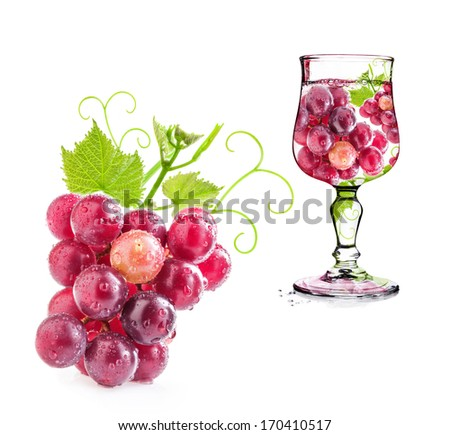 Grapes in glass Isolated on white background - stock photo