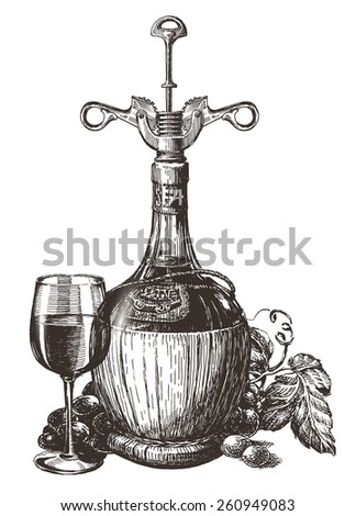 grapes, wine bottle, glass on a white background. sketch - stock photo