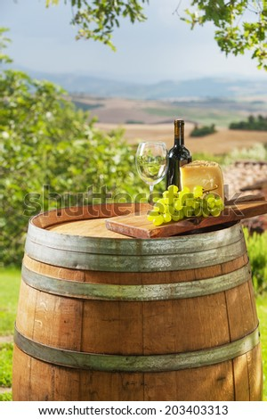 Grapes with cheese and wine in a beautiful landscape, Italy - stock photo