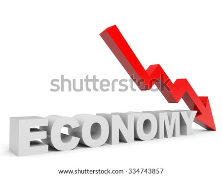 Graph down economy arrow. 3D illustration. - stock photo
