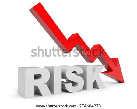 Graph down risk arrow. 3D illustration. - stock photo