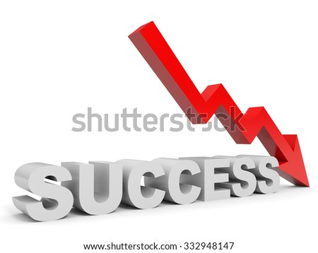 Graph down success arrow. 3D illustration. - stock photo