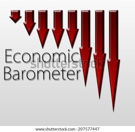 Graph illustration showing Economic Barometer decline. Macroeconomics indicator concept. - stock photo