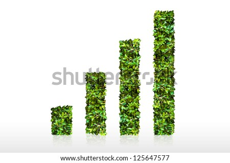 Graph made of green leaf - stock photo