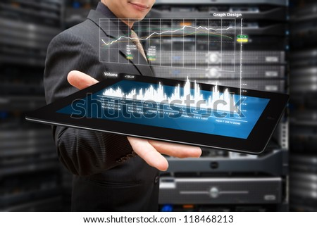 Graph monitor system on tablet - stock photo