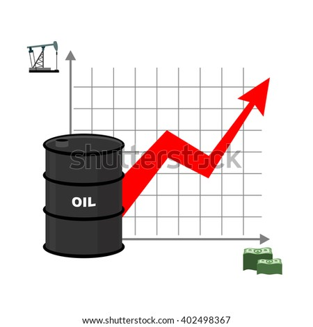 Graph of oil and dollars. Barrel with oil and bundles of cash. Dependence of amount of oil from sale. Barrel of oil. Oil reserves. Red arrow is growing up. Rise of crude oil in world - stock photo
