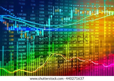 Graph of stock market data and financial with the view from LED display concept that suitable for background,backdrop including stock education or marketing analysis. - stock photo