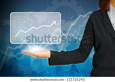 Graph on hand women business - stock photo