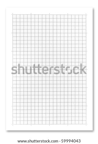 graph paper on white background. . - stock photo