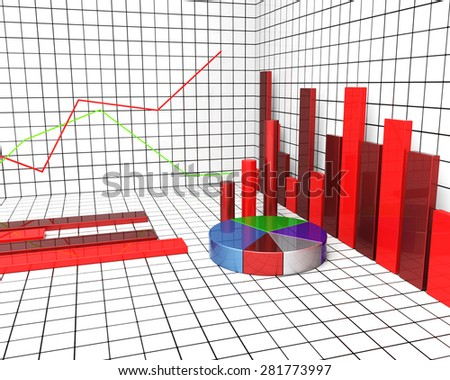 Graph Report Showing Statistical Information And Statistics - stock photo