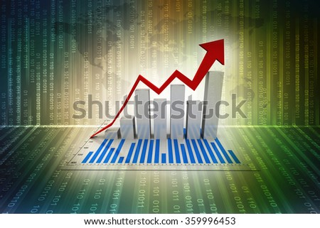 Graph rising - stock photo