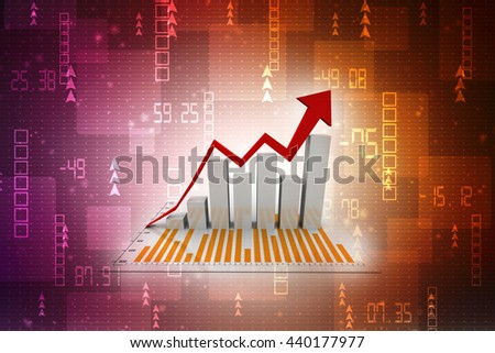 Graph rising. 3D rendering - stock photo