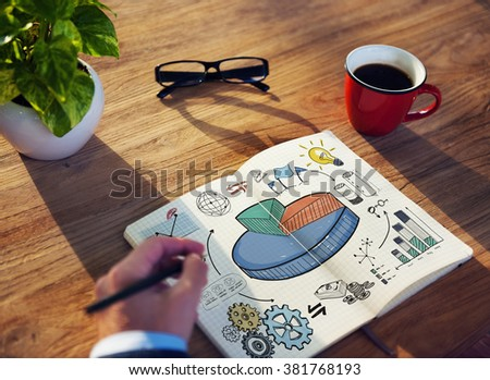 Graph Shares Sales Revenue Research Business Concept - stock photo