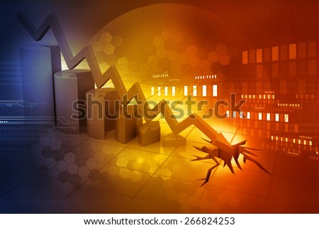 Graph showing business decline	 - stock photo