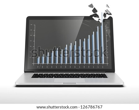 Graph showing high growth on laptop - stock photo
