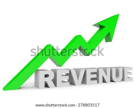 Graph up revenue arrow. 3D illustration. - stock photo