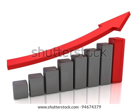 Graph with red arrow - stock photo