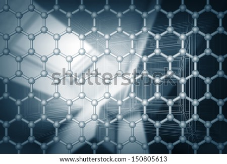 Graphene layer structure model. 3d render illustration with blurred abstract background - stock photo