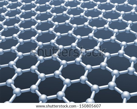 Graphene layer structure model. Monochrome 3d render illustration - stock photo