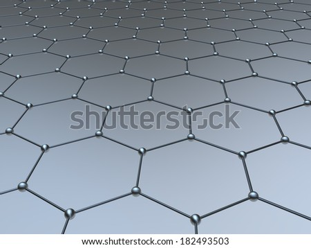 Graphene molecule structure fragment schematic model - stock photo