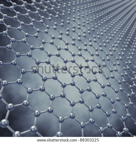 Graphene sheet model , 3d illustration - stock photo