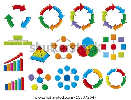 graphic business diagram collection (business process diagrams, bar graph, business diagram, circle chart, business process) - stock photo
