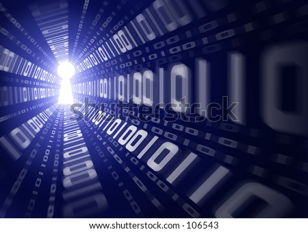 Graphic depicting binary data escaping through a keyhole. - stock photo