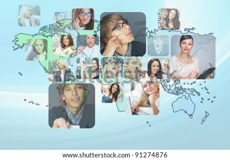 Graphic design background. World map and photo of different people across the world. Online community concept - stock photo